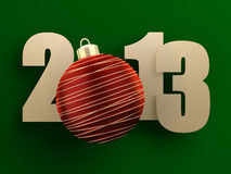 2013 new year. Golden 2013 text with red christmas ball on green background. 3d image Royalty Free Stock Photo
