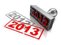2013 new year. 3d illustration of year change concept royalty free illustration