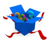 2013 New Year. Blue open gift box with 2013, 3d New Year concept Stock Photos
