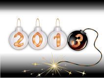 2013 new year. On fir-tree balls, the last in the form of a bomb with burning fire Stock Images