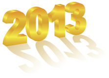 2013 New Year 3 Dimensional Gold Numeral Royalty Free Stock Photo