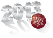 2013 New Year 3 Dimensional Numeral Ornament. 2013 Happy New Year 3D Numbers and Red Ornament with Long Shadows  on White Background Stock Images