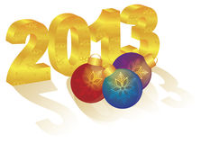2013 New Year 3D Gold Numeral Ornaments. 2013 Happy New Year 3D Gold Numbers and Colorful Ornaments with Long Shadows on White Background stock illustration