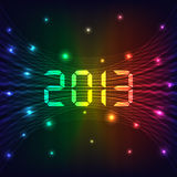 2013 New year background. 2013 Happy new year celebration background with neon lights style 2013 text. Glowing lights on dark background Stock Photography