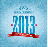2013, new year background. With ribbon Stock Images