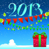 2013 New Year background vector image. Red gift box and green ribbon for Christmas celebration / Made with Adobe Illustrator CS3 and save in EPS 10 / Gardian royalty free illustration