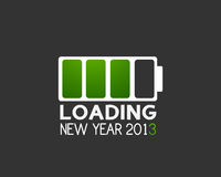 2013 new year battery charge icon. Abstract background royalty free illustration