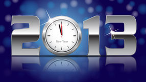 2013 New Year Card. Shining metal digits with clocks instead of number zero Stock Photography