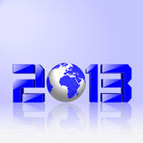 2013 New Year concept. Creative 2013 New Year concept with blue Earth globe  on light blue reflective background Stock Image