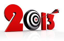 2013 new year and conceptual target. With arrow in white background. clipping path included Royalty Free Stock Photography