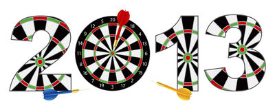 2013 New Year Dartboard with Darts Illustration. 2013 Happy New Year Dartboard with Darts on Target Bullseye Illustration Isolated on White Background vector illustration