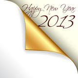 2013 new year with gold curled corner. 2013 happy new year with gold curled corner Stock Photos