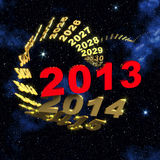 2013 New Year In Front Of Spiral Of Time Stock Photography