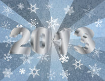 2013 New Year Numerals in Silver Background. 2013 New Year Numerals in 3D and Snowflakes Silver Rays Textured Background Illustration royalty free illustration