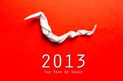 2013 New Year with paper snake Stock Image