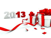 2013 New Year with a presents. On white royalty free illustration