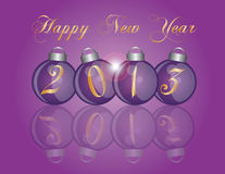 2013 New Year Purple Ornaments. 2013 Happy New Year Christmas Purple Ornaments with Reflection Illustration Royalty Free Stock Images