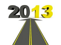 2013 New Year on the road. On white Stock Photo