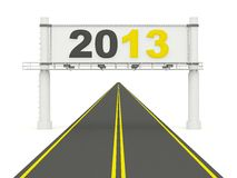 2013 New Year on the road. On white Royalty Free Stock Image