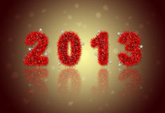 2013 New Year's symbol. Made of red tinsel Royalty Free Stock Image