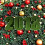 2013 New Year sign on christmass tree decorations Stock Image