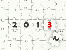 2013 New year symbol. On puzzle vector illustration