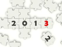 2013 New year symbol. On puzzle Royalty Free Stock Photo