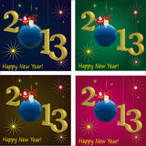 2013 New Year symbols  with Santa Claus and ball,. 2013 New Year symbols  with Santa Claus, ball, different  background Stock Images