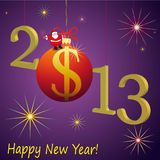 2013 New Year symbols with Santa Claus and red US. 2013 New Year symbol with Santa Claus and red US Dollar ball Stock Photo