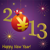2013 New Year symbols with Santa Claus and red Yua. 2013 New Year symbol with Santa Claus and red Yuan ball Royalty Free Stock Photo