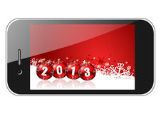 2013 new years illustration. With mobile phone Stock Photography
