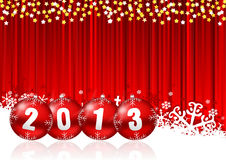 2013 new years illustration. With christmas balls and snowflakes on red background Royalty Free Stock Images