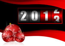 2013 new years illustration. With christmas balls and counter Stock Photos