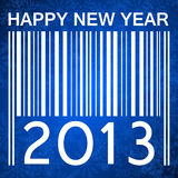 2013 new years illustration with barcode. And snowflakes on blue background royalty free illustration
