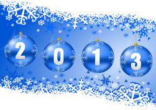 2013 new years illustration with christmas balls. And snowflakes on blue background Stock Images