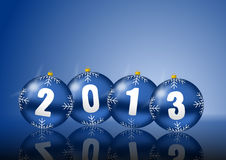 2013 new years illustration with christmas balls. On blue background Stock Images