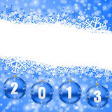 2013 new years illustration with christmas balls. And snowflakes on blue background Stock Photography