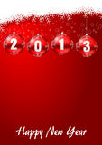 2013 new years illustration with christmas balls. And snowflakes Stock Image