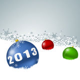 2013 new years illustration with christmas balls. And snowflakes Royalty Free Stock Photography