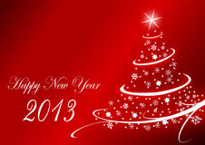 2013 new years illustration with christmas tree. And snowflakes on red background Royalty Free Stock Images