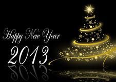 2013 new years  illustration with christmas tree Stock Photo