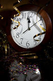 2013 New Years Party Background. Clock and festive tinsels Stock Photos