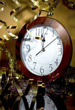 2013 New Years Party Background. Clock and festive tinsels Stock Photography