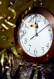 2013 New Years Party Background. Clock and festive tinsels Royalty Free Stock Photography