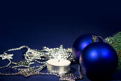 2013 New Years Party Background. Balls, stars garland and light candle Stock Photo
