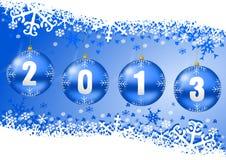 2013 nieuwe jarenillustratie met Kerstmisballen Stock Afbeeldingen