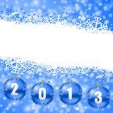 2013 nieuwe jarenillustratie met Kerstmisballen Stock Fotografie