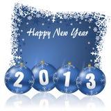 2013 nieuwe jarenillustratie met Kerstmisballen Royalty-vrije Stock Foto's