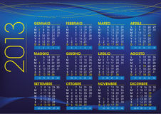 2013 night mood italian calendar Royalty Free Stock Photography