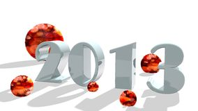 2013 number in 3d with fur spheres Stock Photos
